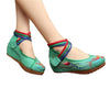 Chinese Embroidered Green Cotton Cheap Elevator shoes for women in Colorful Ankle Straps & Bird Design - Mega Save Wholesale & Retail - 1