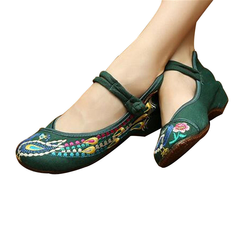 Vintage Chinese Embroidered Flat Ballet Ballerina Cotton Mary Jane Style Shoes for Women in Green Floral Design - Mega Save Wholesale & Retail - 1