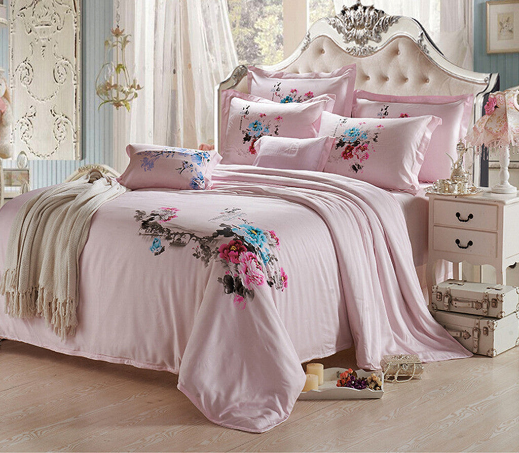 Silk ink and wash painting Duvet Quilt Cover Sets Bedding Cover Set  Size 01 Pink - Mega Save Wholesale & Retail