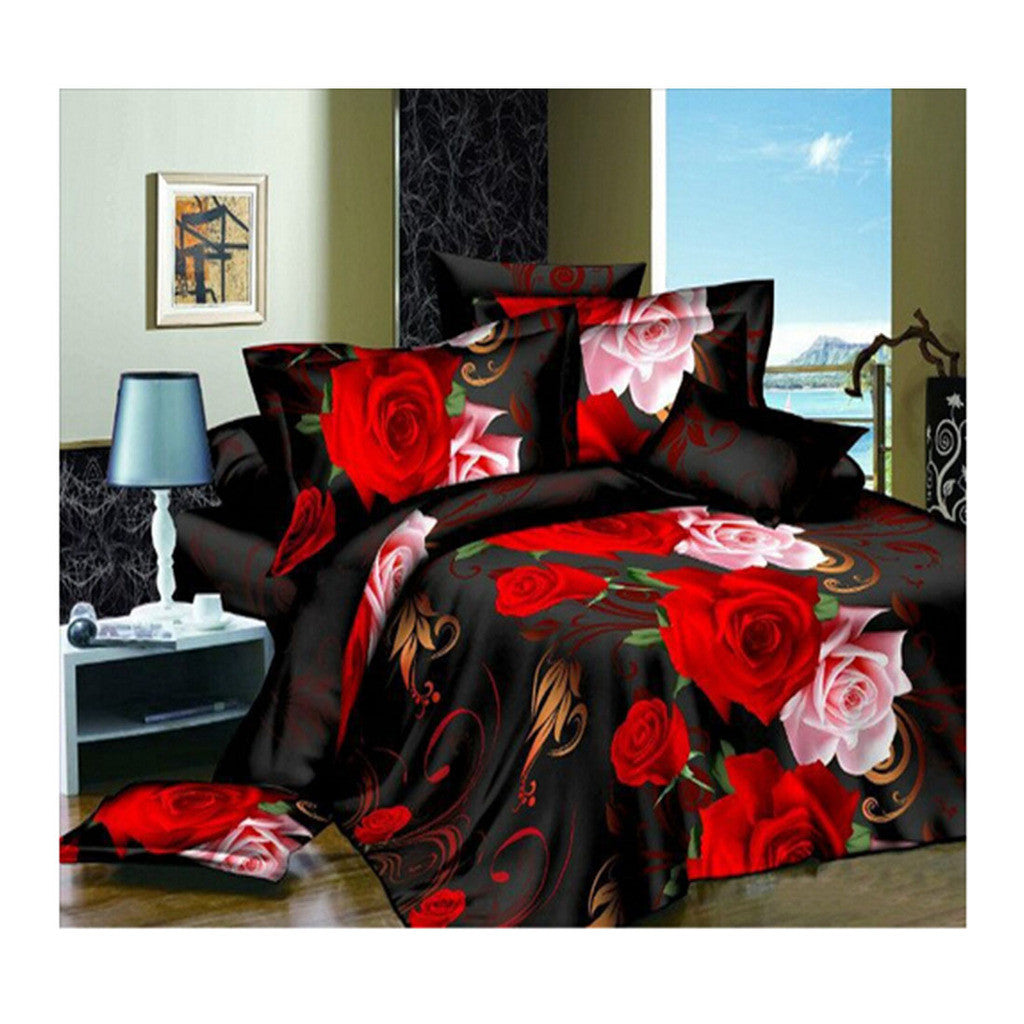 3D Flower Queen King Size Bed Quilt/Duvet Sheet Cover 4PC Set Cotton Sanded 023 - Mega Save Wholesale & Retail