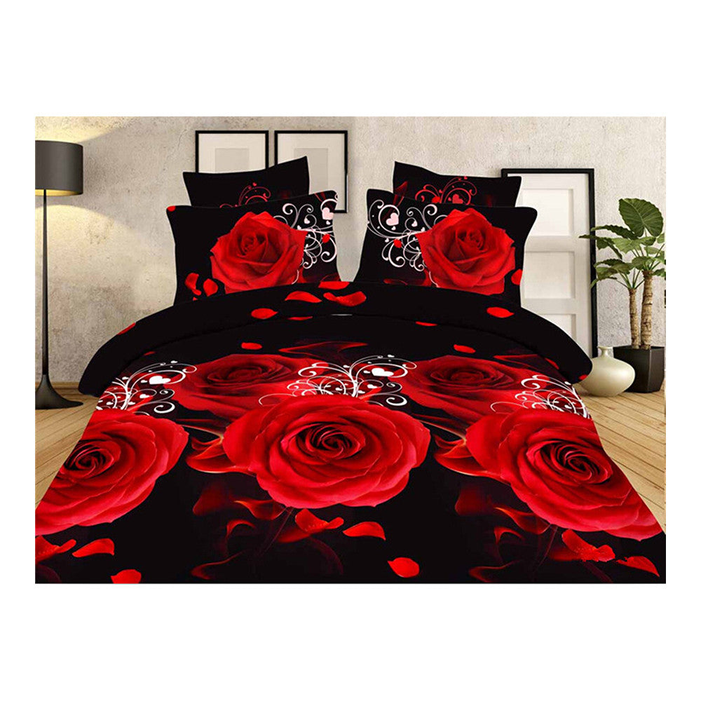 3D Flower Queen King Size Bed Quilt/Duvet Sheet Cover 4PC Set Cotton Sanded 031 - Mega Save Wholesale & Retail