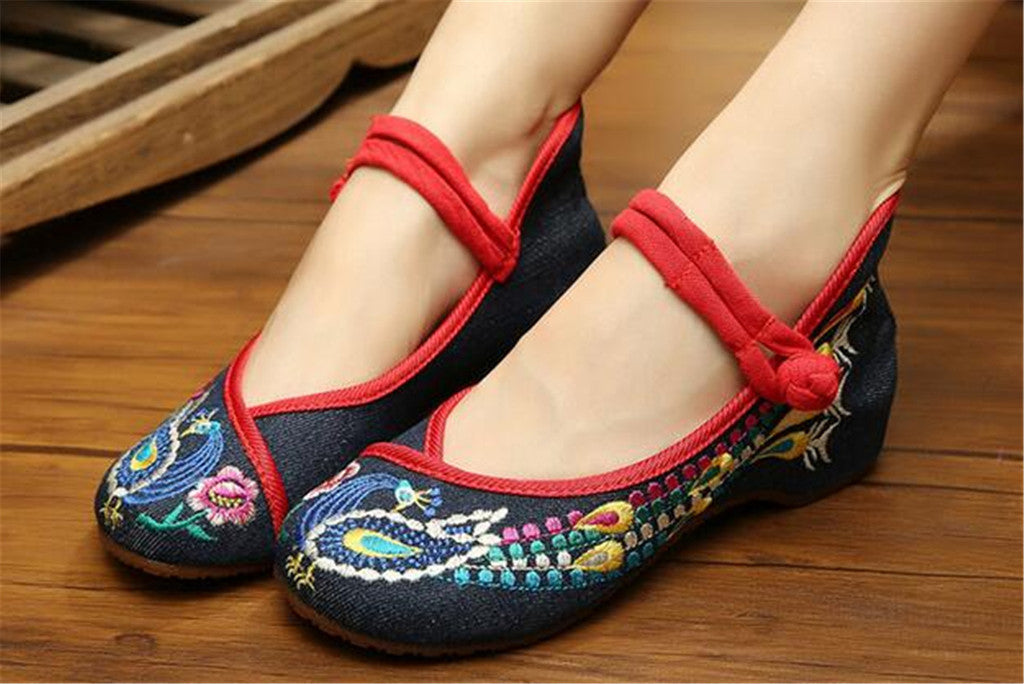 Vintage Chinese Embroidered Flat Ballet Womens Mary Jane Shoes in Cotton Blue Floral Ballerina Design - Mega Save Wholesale & Retail - 2