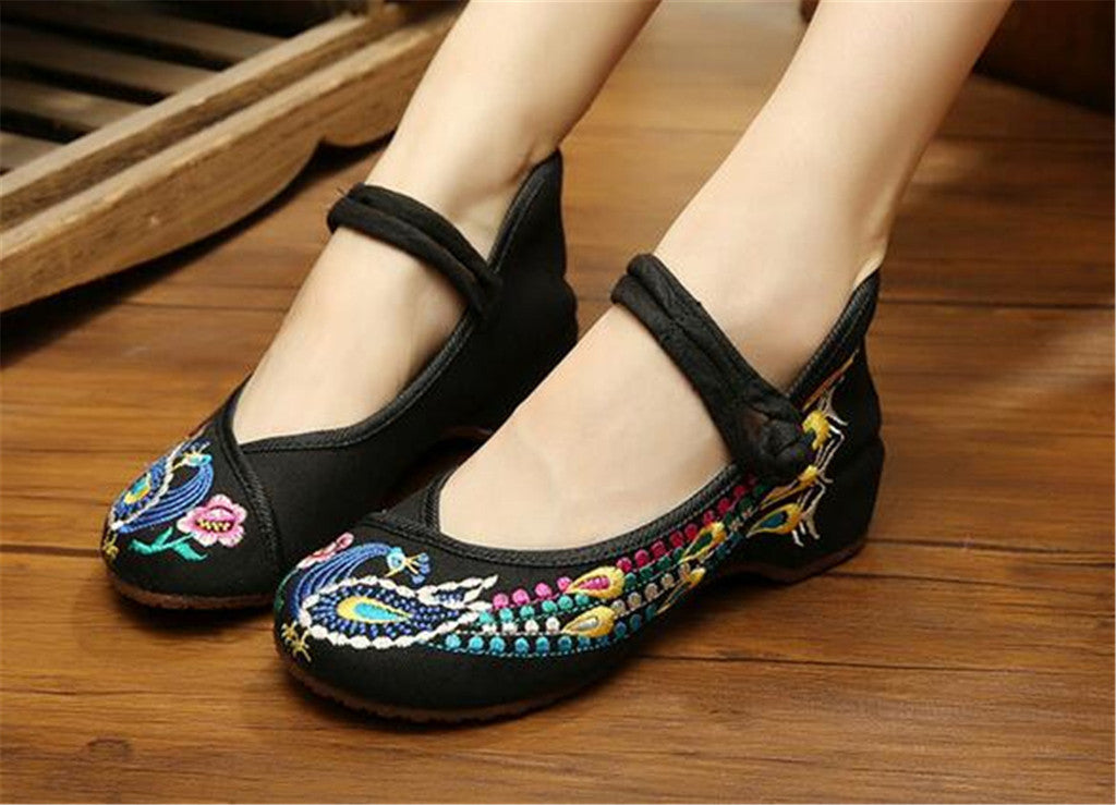 Vintage Chinese Embroidered Ballet Ballerina Cotton Mary Jane Flat Shoes for Women in Bewitching Black Floral Design - Mega Save Wholesale & Retail - 2