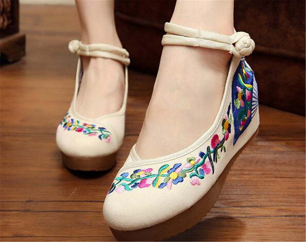 Chinese Embroidered Elevator Ballerina Mary Jane Ladies Shoes in Cotton White Folding Fan Design - Mega Save Wholesale & Retail - 2