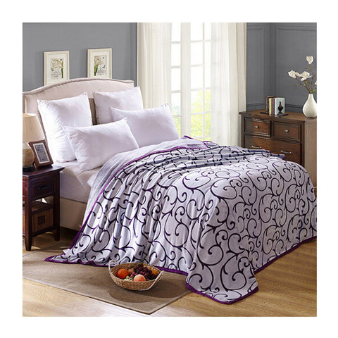 Clipped Pattern Blanket Bedding Throw Fleece Super Soft Warm Value cut purple - Mega Save Wholesale & Retail
