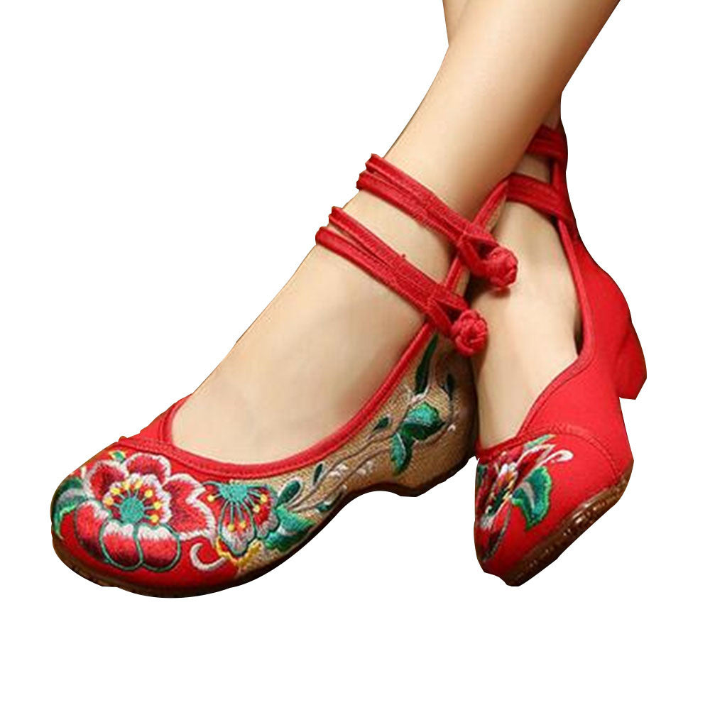 Mary Jane Embroidered Flat Ballet Ballerina Cotton Traditional Chinese Shoes for Women in Red Floral Design - Mega Save Wholesale & Retail - 1