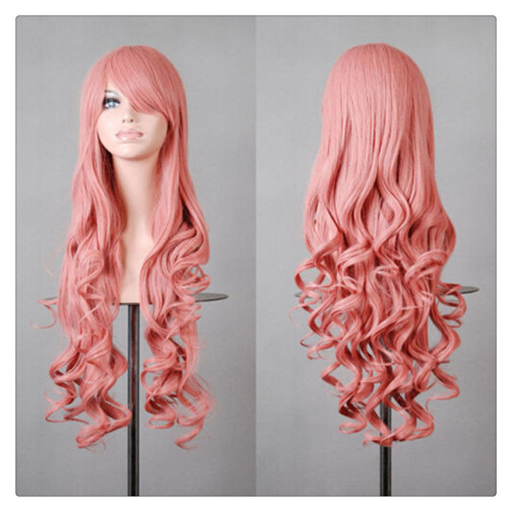 Women New Fashion Women Girl 80cm Wavy Curly Long Hair Full Cosplay Party Sexy Lolita wig  Sakura powder - Mega Save Wholesale & Retail