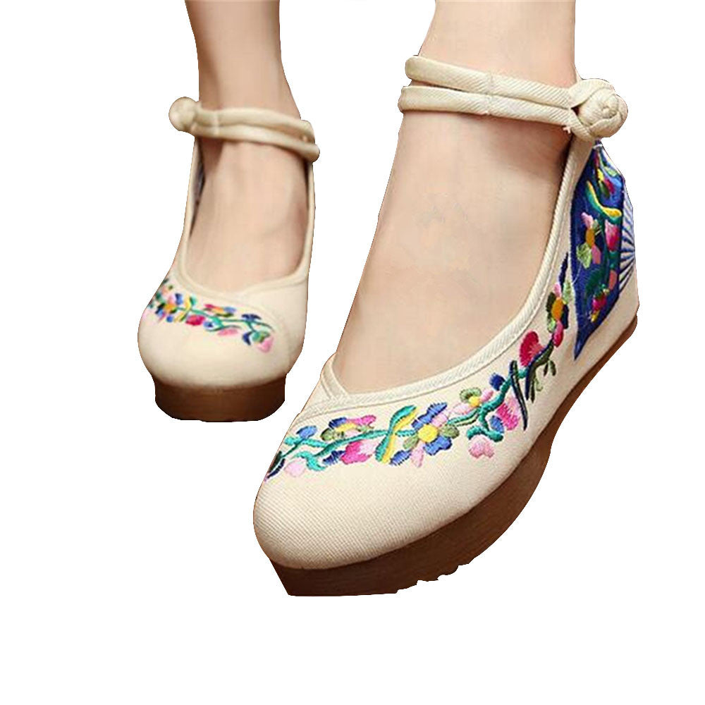 Chinese Embroidered Elevator Ballerina Mary Jane Ladies Shoes in Cotton White Folding Fan Design - Mega Save Wholesale & Retail - 1
