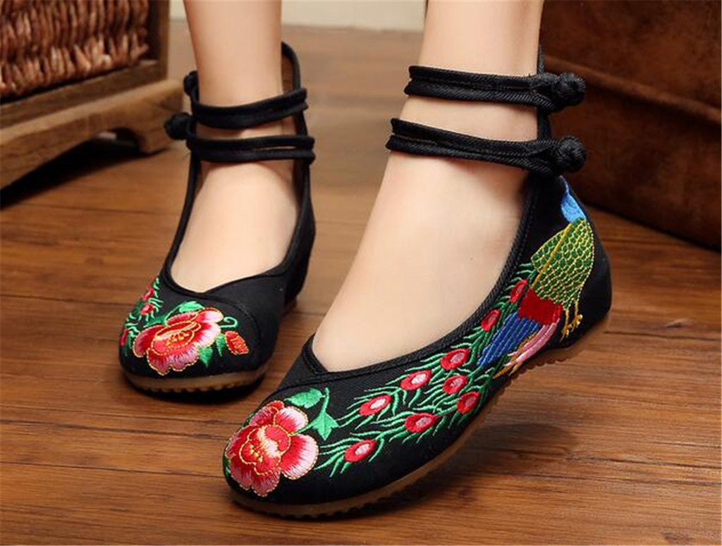 Chinese Embroidered Ballerina Women Elevator Shoes in Double Pankou Black Ankle Straps & Bird Patterns - Mega Save Wholesale & Retail - 2