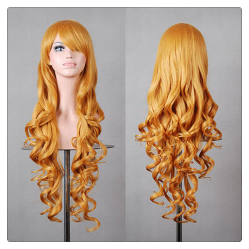 Women New Fashion Women Girl 80cm Wavy Curly Long Hair Full Cosplay Party Sexy Lolita wig  golden - Mega Save Wholesale & Retail
