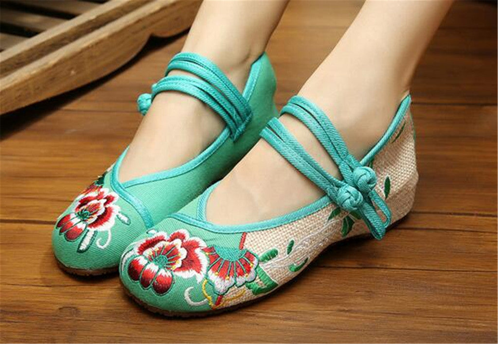 Vintage Chinese Embroidered Flat Ballet Ballerina Cotton Velvet Mary Jane Shoes for Women in Green Floral Design - Mega Save Wholesale & Retail - 2