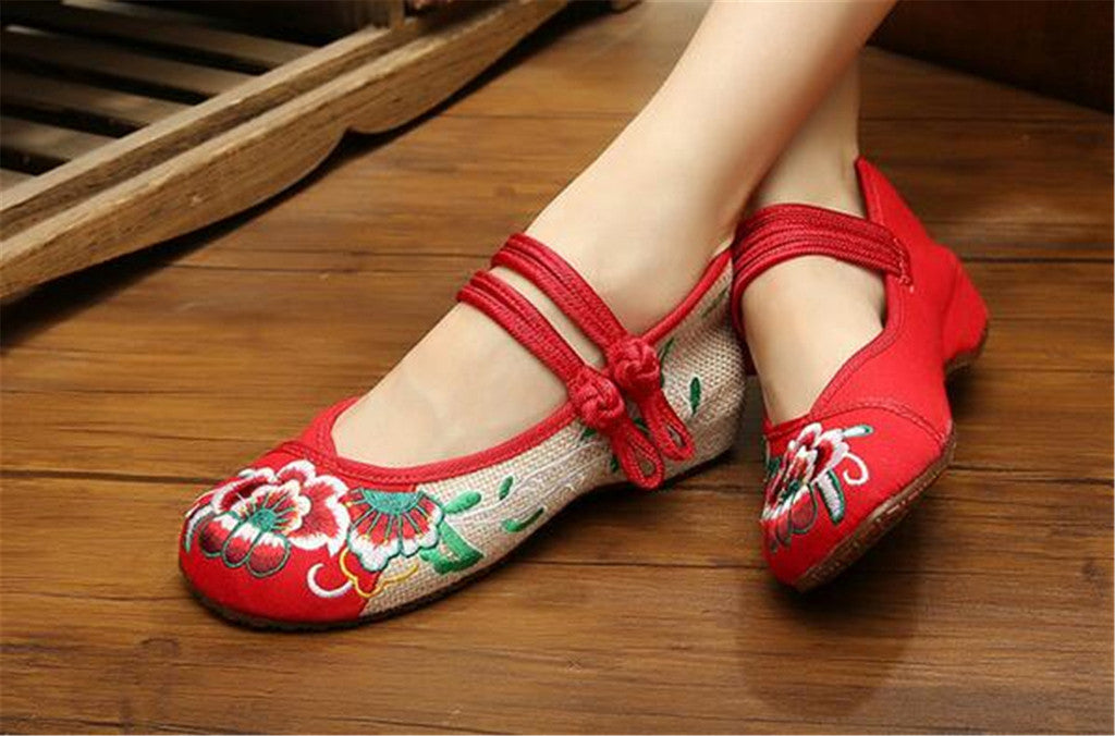 Chinese Embroidered Flat Ballet Ballerina Cotton Mary Jane Women loafer shoes in Ravishing Red Floral Design - Mega Save Wholesale & Retail - 3