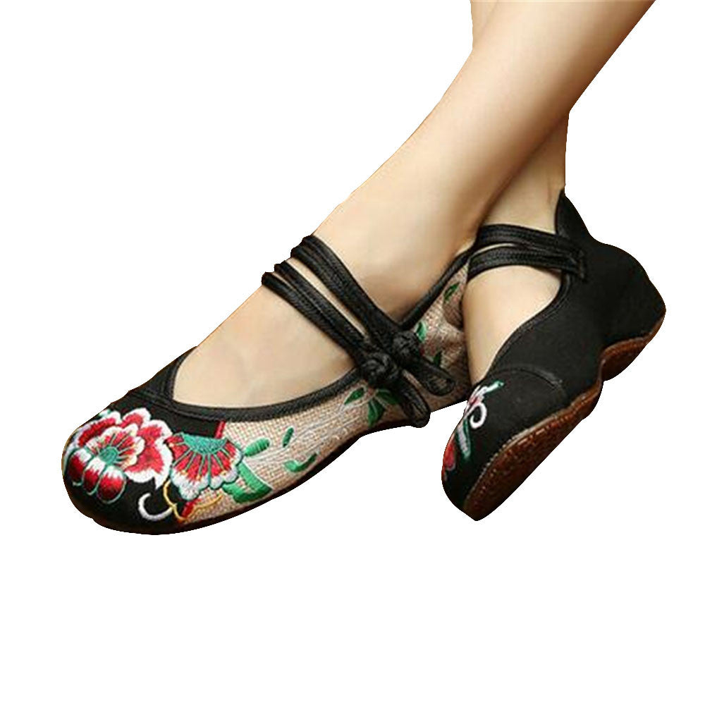 Mary Jane Chinese Embroidered Flat Ballet Ballerina Cotton Women Leather Loafers in Black Floral Delicate Design - Mega Save Wholesale & Retail - 1