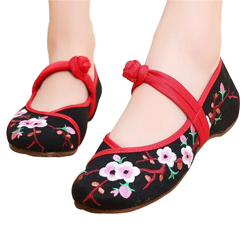 Chinese Embroidered Women Elevator Shoes with Lace Straps in Black Ventilated Cotton & Floral Patterns - Mega Save Wholesale & Retail - 1