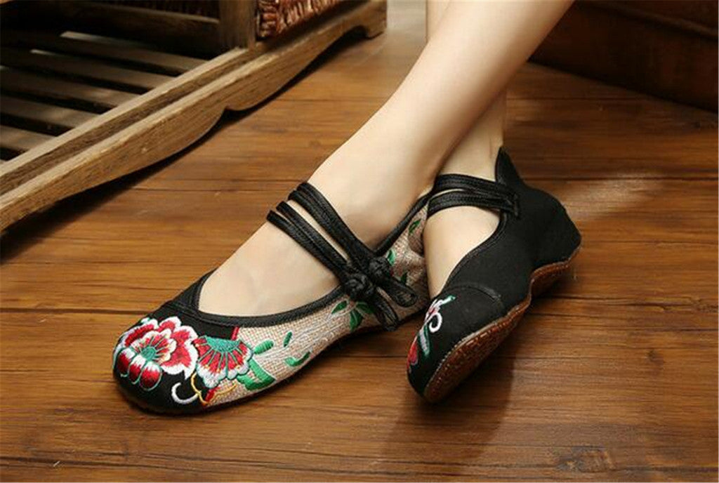Mary Jane Chinese Embroidered Flat Ballet Ballerina Cotton Women Leather Loafers in Black Floral Delicate Design - Mega Save Wholesale & Retail - 3
