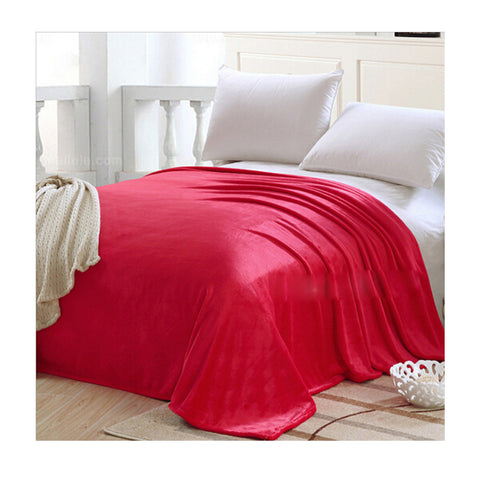 Plush Soft Queen Soild Color Micro fleece Bed Throw Blanket  Red - Mega Save Wholesale & Retail