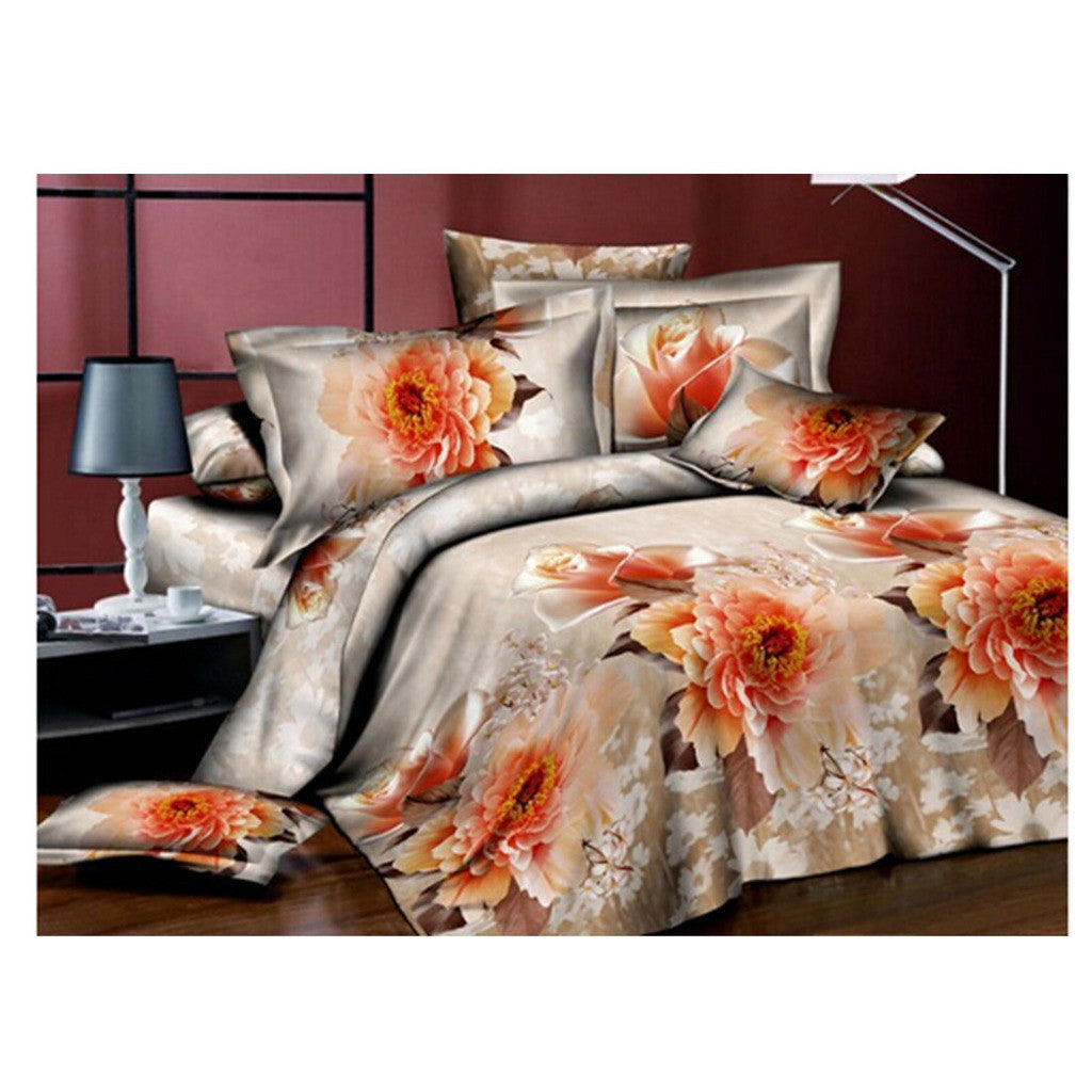 3D Flower Queen King Size Bed Quilt/Duvet Sheet Cover 4PC Set Cotton Sanded 027 - Mega Save Wholesale & Retail