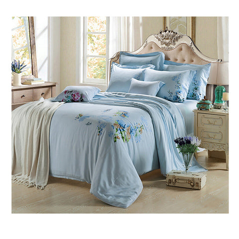 Silk ink and wash painting Duvet Quilt Cover Sets Bedding Cover Set 01 Blue - Mega Save Wholesale & Retail