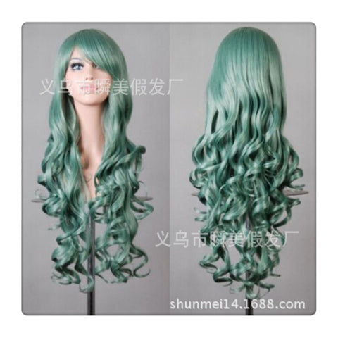 Women New Fashion Women Girl 80cm Wavy Curly Long Hair Full Cosplay Party Sexy Lolita wig  green - Mega Save Wholesale & Retail