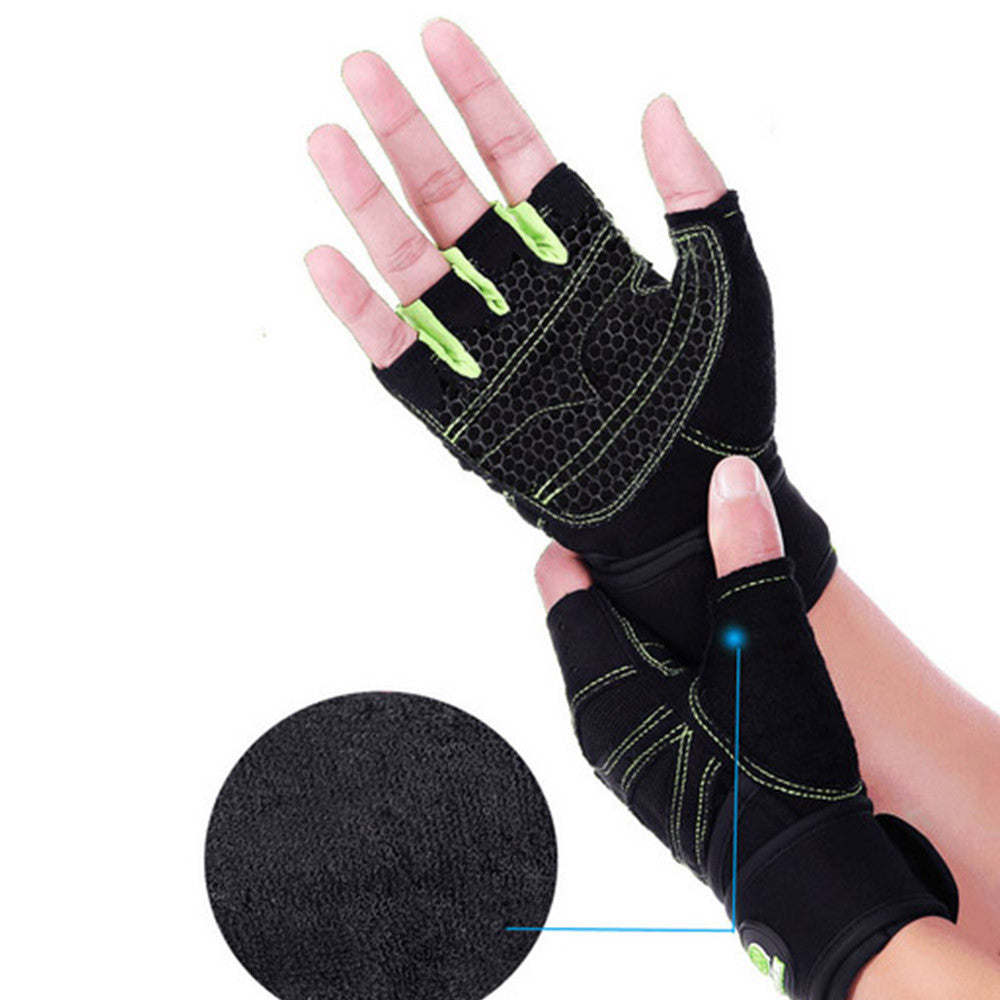 Weight Lifting Gym Gloves Training Fitness Antislip Wareproof Wrist Wrap Workout Exercise Gaming 3 Color In Pair - Mega Save Wholesale & Retail - 2