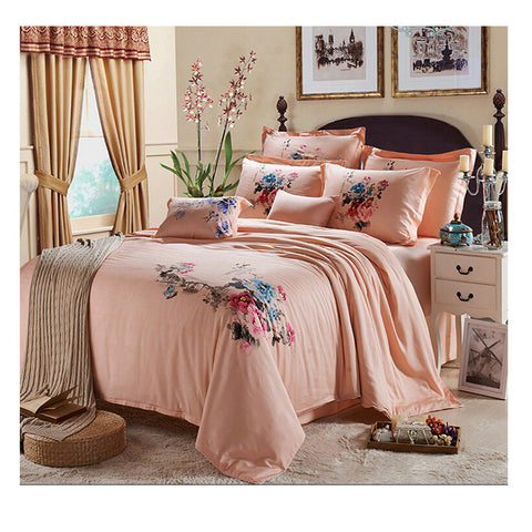 Silk ink and wash painting Duvet Quilt Cover Sets Bedding Cover Set  01  Green - Mega Save Wholesale & Retail