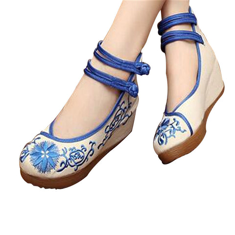 Chinese Mary Jane Shoes in Beautiful Blue Embroidery & Ankle Straps with Floral Patterns - Mega Save Wholesale & Retail - 1