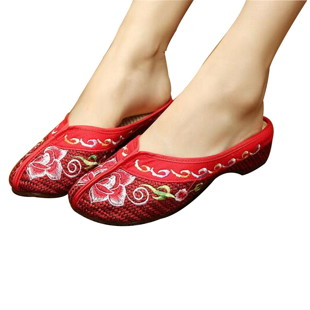 Chinese Mary Jane Shoes in Gorgeous Red Embroidery for Women in Floral Design - Mega Save Wholesale & Retail - 1