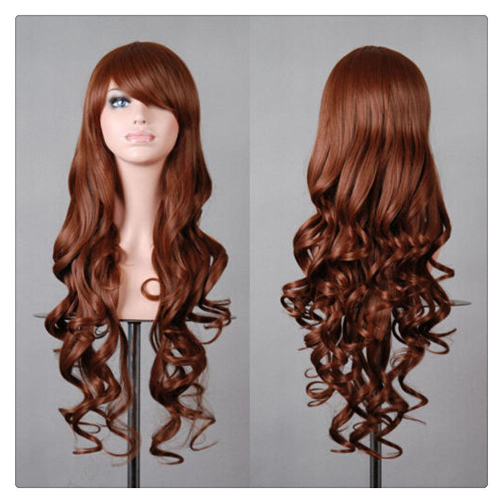 Women New Fashion Women Girl 80cm Wavy Curly Long Hair Full Cosplay Party Sexy Lolita wig  brown - Mega Save Wholesale & Retail