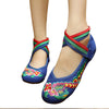 Traditional Embroidered Blue Cotton Mary Jane Chinese Shoes with Colorful Ankle Straps & Bird Design - Mega Save Wholesale & Retail - 1