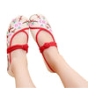 Custom Embroidered Shoes with Lace Straps in Beige & Red Ventilated Cotton & Floral Patterns - Mega Save Wholesale & Retail - 1