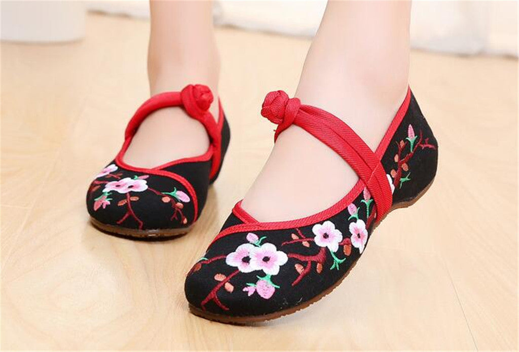 Chinese Embroidered Women Elevator Shoes with Lace Straps in Black Ventilated Cotton & Floral Patterns - Mega Save Wholesale & Retail - 2