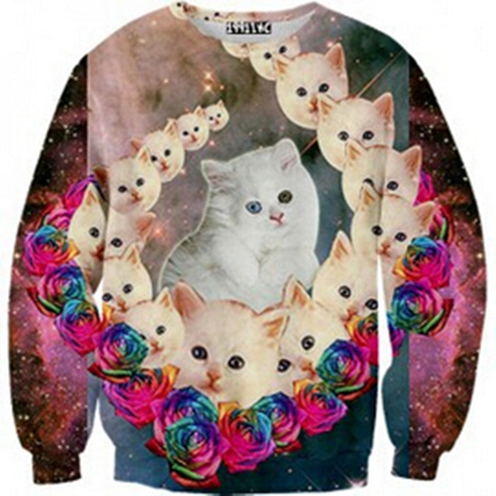 Womens Mens 3D Print Realistic Space Galaxy Animals Hoodie Sweatshirt Top Jumper The white cat - Mega Save Wholesale & Retail