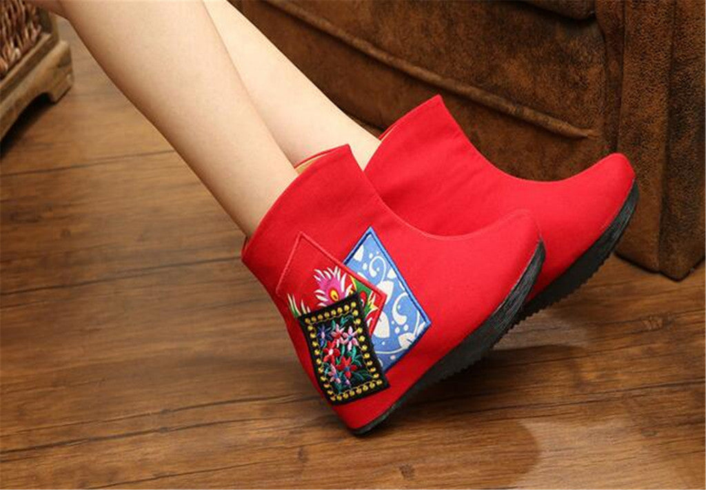 Chinese Velvet Red Elevator Embroidered Boots for Women in Colorful Geometric Designs - Mega Save Wholesale & Retail - 5