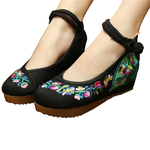 Chinese Embroidered Shoes Women Ballerina  Cotton Elevator shoes embroidered fan Black - Mega Save Wholesale & Retail - 1
