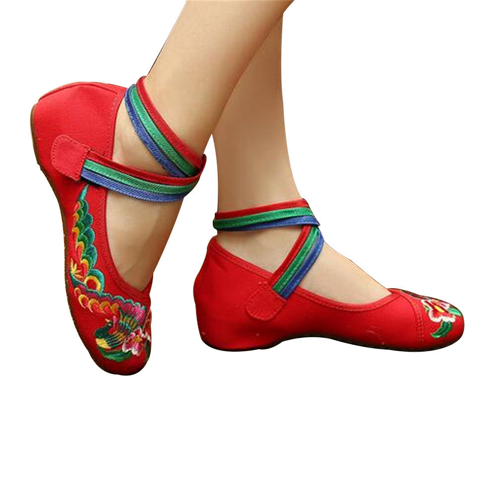Chinese Embroidered Ballerina Red Mary Jane Shoes for women with Colorful Ankle Straps & Floral Design - Mega Save Wholesale & Retail - 1