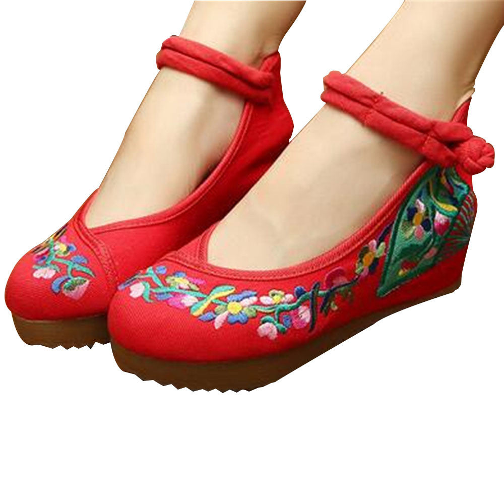 Traditional Embroidered Elevator Ballerina Chinese Mary Jane Shoes in Cotton Red Folding Fan Design - Mega Save Wholesale & Retail - 1