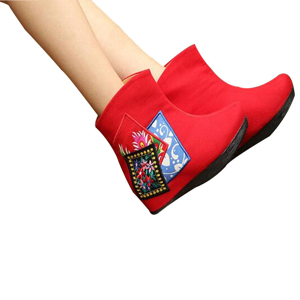 Chinese Velvet Red Elevator Embroidered Boots for Women in Colorful Geometric Designs - Mega Save Wholesale & Retail - 1