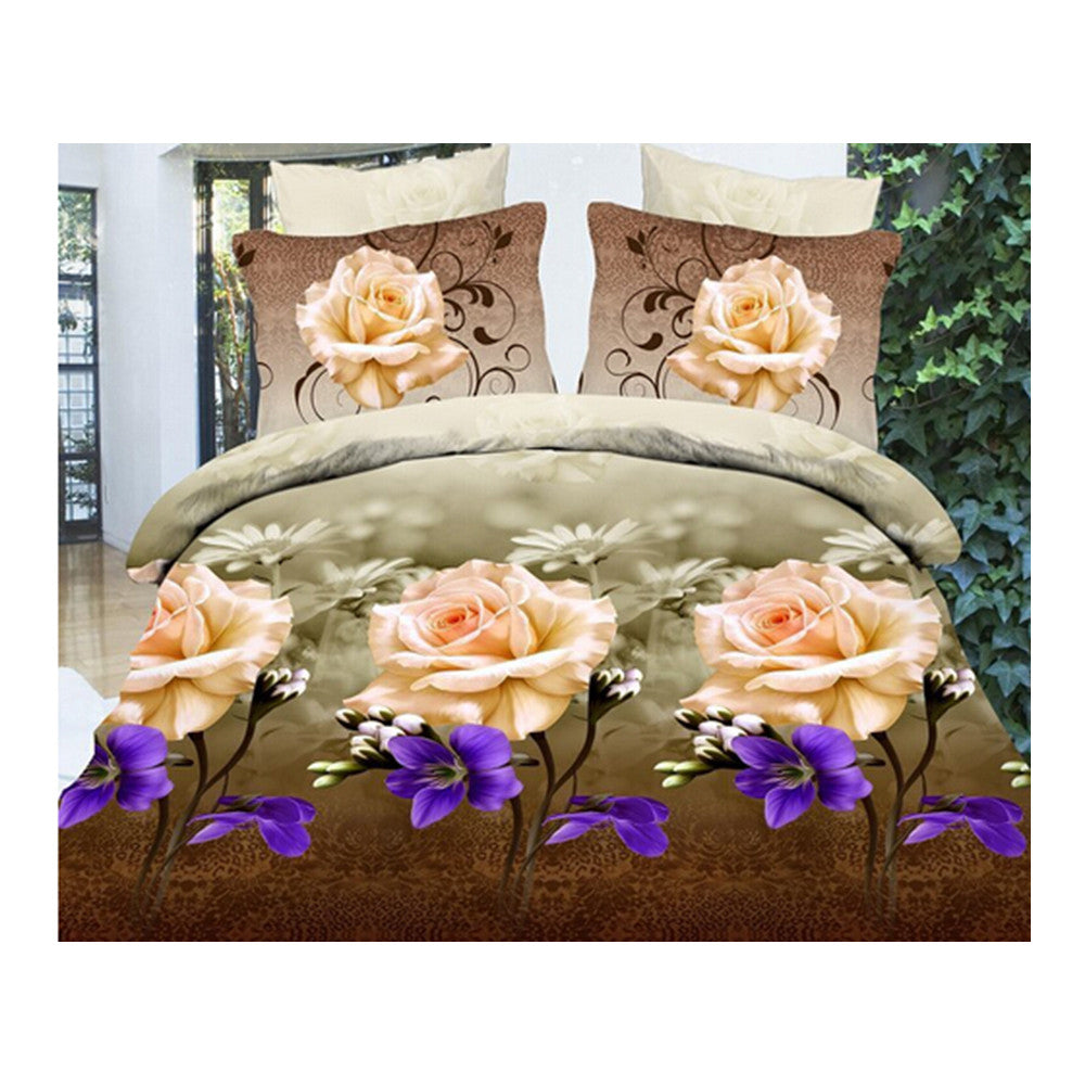 3D Flower Queen King Size Bed Quilt/Duvet Sheet Cover 4PC Set Cotton Sanded 013 - Mega Save Wholesale & Retail