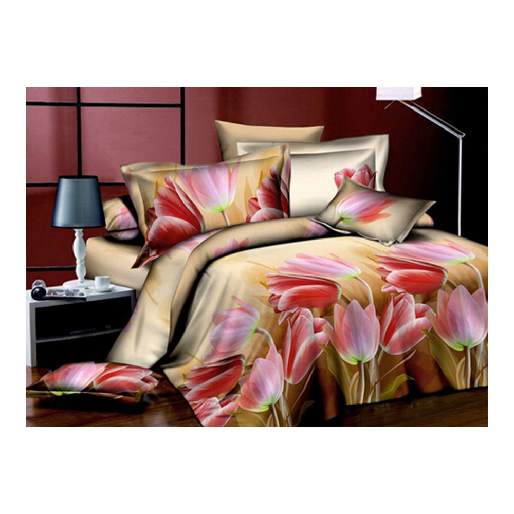3D Flower Queen King Size Bed Quilt/Duvet Sheet Cover 4PC Set Cotton Sanded 006 - Mega Save Wholesale & Retail