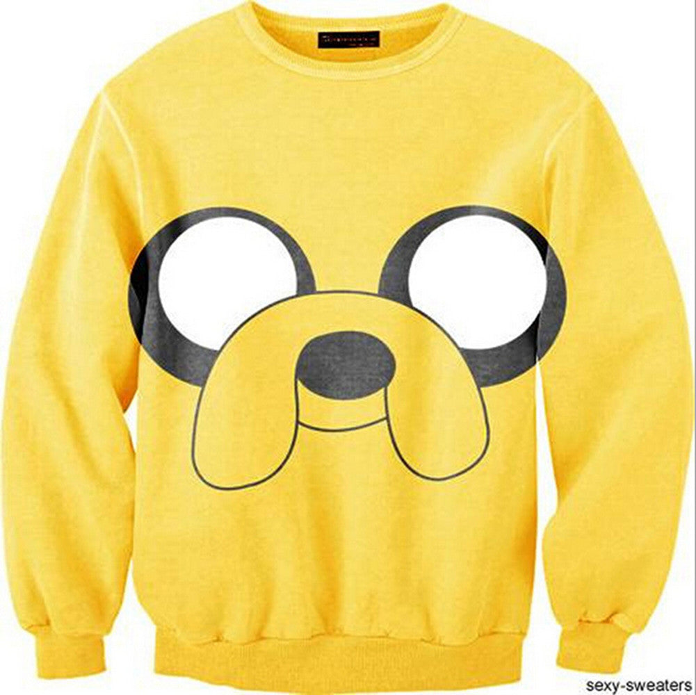 Womens Mens 3D Print Realistic Space Galaxy Animals Hoodie Sweatshirt Top Jumper Yellow dog - Mega Save Wholesale & Retail