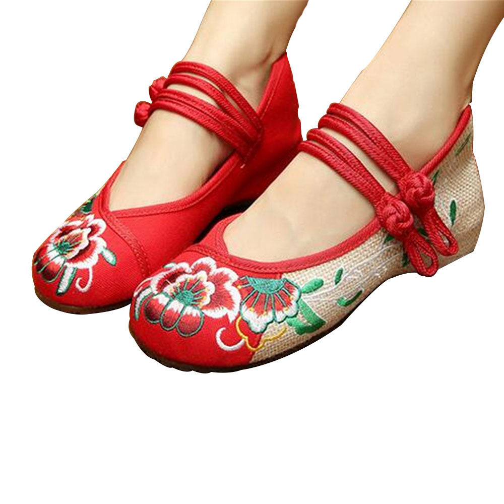 Chinese Embroidered Flat Ballet Ballerina Cotton Mary Jane Women loafer shoes in Ravishing Red Floral Design - Mega Save Wholesale & Retail - 1