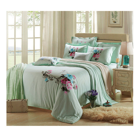 Silk ink and wash painting Duvet Quilt Cover Sets Bedding Cover Set  01 Sky Blue - Mega Save Wholesale & Retail