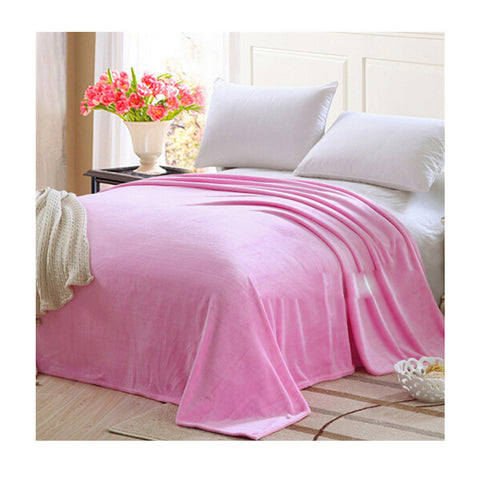 Plush Soft Queen Soild Color Micro fleece Bed Throw Blanket  Pink - Mega Save Wholesale & Retail