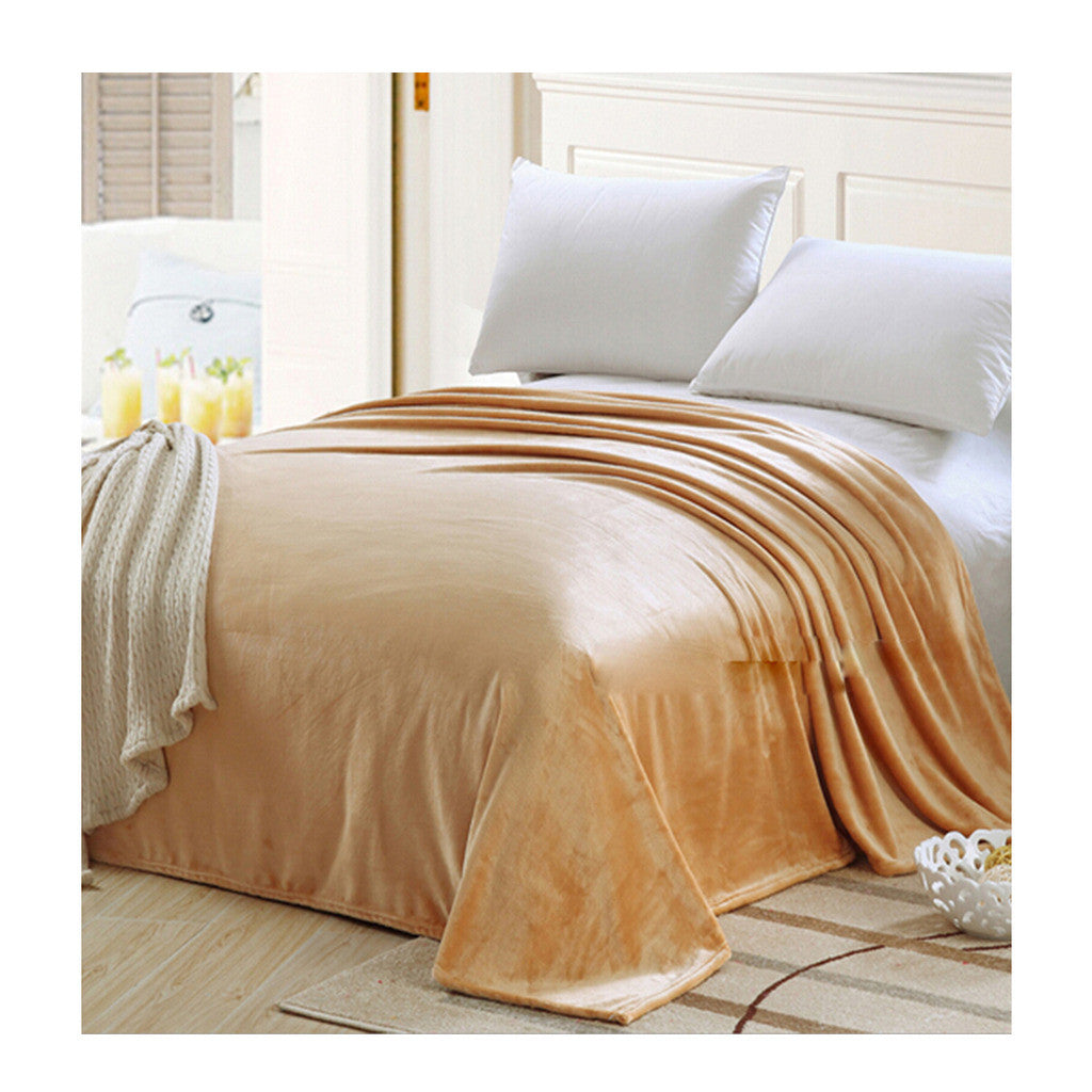 Plush Soft Queen Soild Color Micro fleece Bed Throw Blanket  Camel - Mega Save Wholesale & Retail
