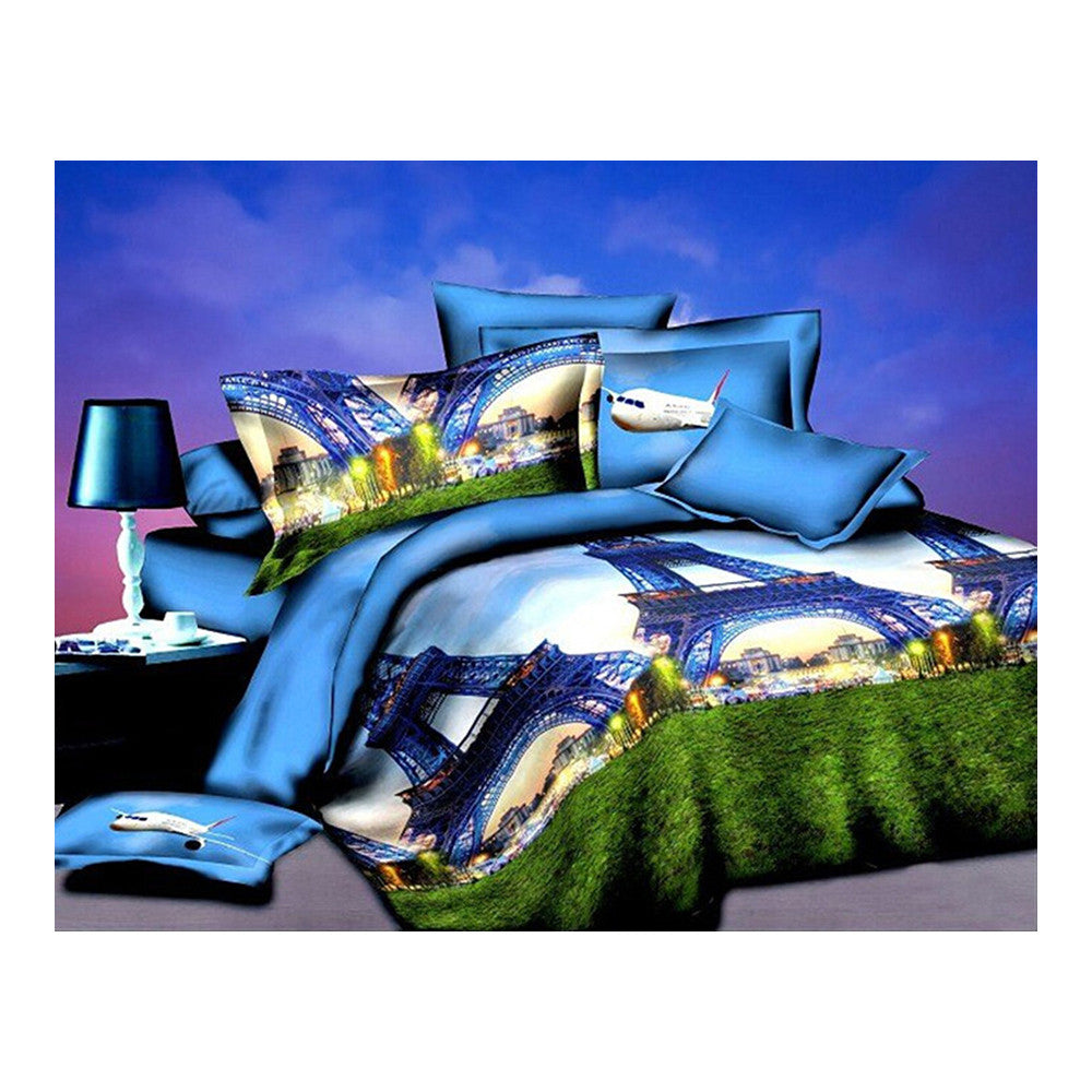 3D Flower Queen King Size Bed Quilt/Duvet Sheet Cover 4PC Set Cotton Sanded 038 - Mega Save Wholesale & Retail