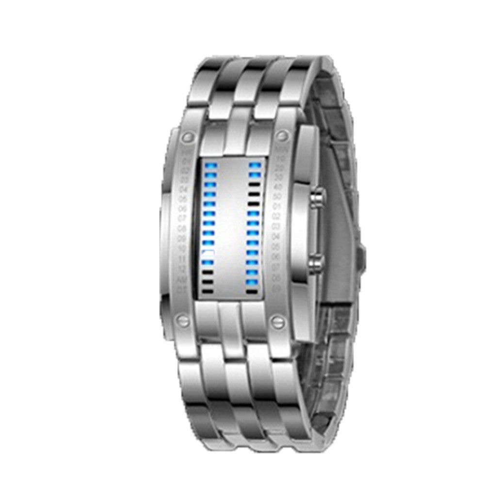 Deep Waterproof Creative Date Digital LED Luminous steel Men Women Bracelet Fashion Chic Watch Silver Men - Mega Save Wholesale & Retail - 1
