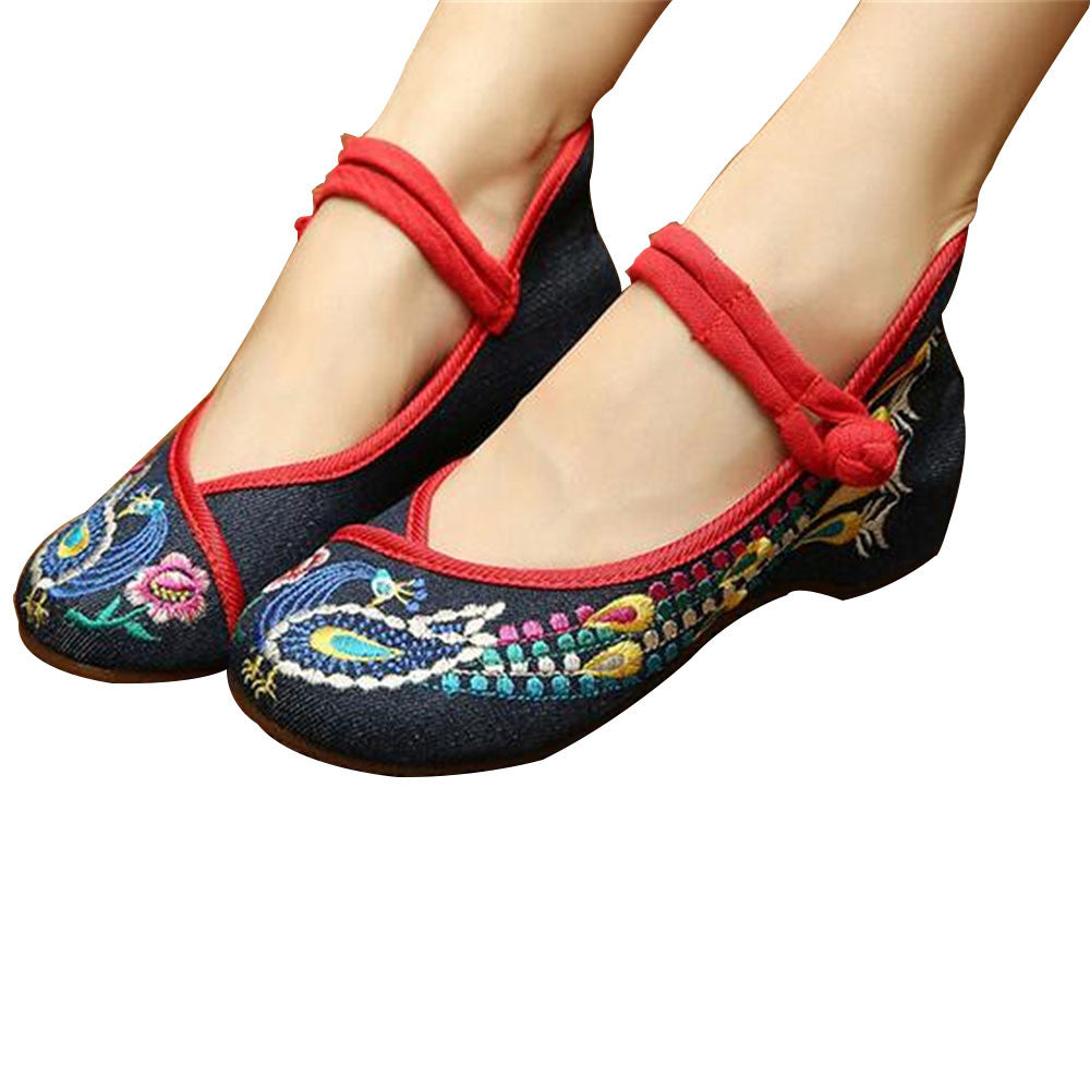 Chinese Embroidered Floral Shoes Women Ballerina Mary Jane Flat Ballet Cotton Loafer Blue - Mega Save Wholesale & Retail - 1