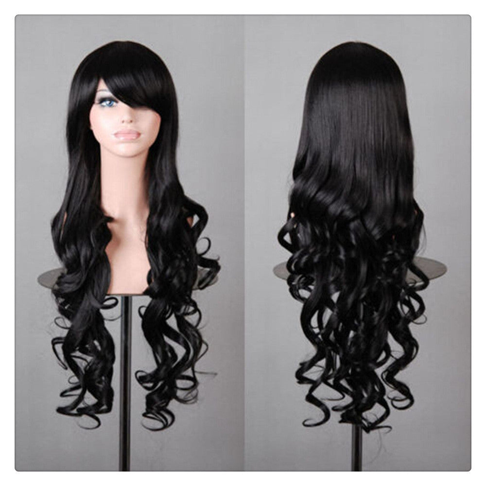 Women New Fashion Women Girl 80cm Wavy Curly Long Hair Full Cosplay Party Sexy Lolita wig  Black - Mega Save Wholesale & Retail