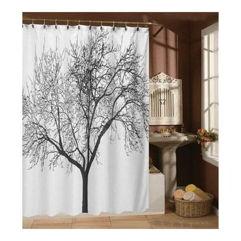 Black Tree White Fabric Bathroom Shower Curtain Polyester with 12 Hooks - Mega Save Wholesale & Retail