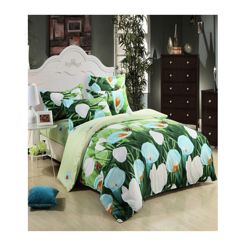 3D Flower Queen King Size Bed Quilt/Duvet Sheet Cover 4PC Set Cotton Sanded 016 - Mega Save Wholesale & Retail